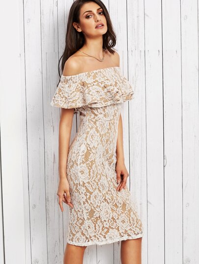 White Lace Overlay Ruffle Off The Shoulder Dress