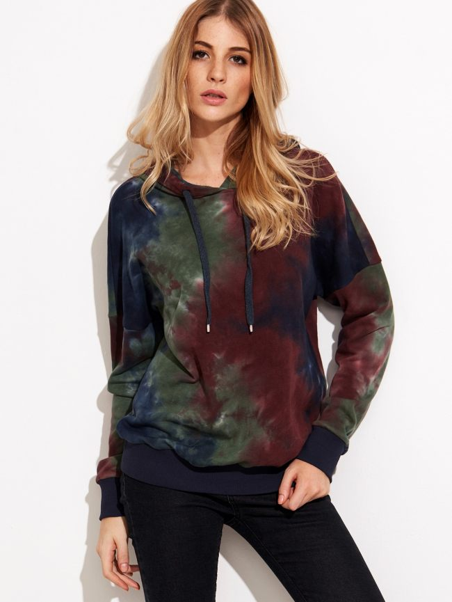 SheIn Multicolor Tie Dye Print Drop Shoulder Hoodie