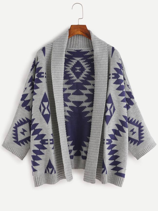 SheIn Aztec Pattern Batwing Sleeve Sweater