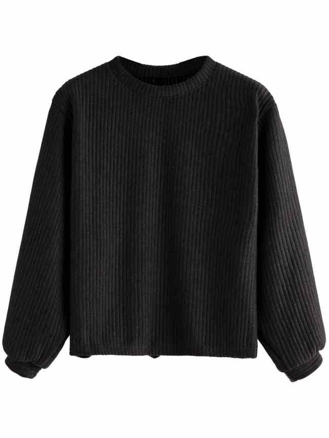 SheIn Black Long Sleeve Ribbed Sweatshirt