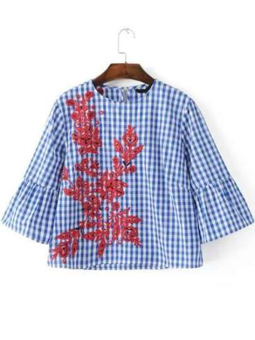 Blue Plaid Embroidery Bell Sleeve Blouse