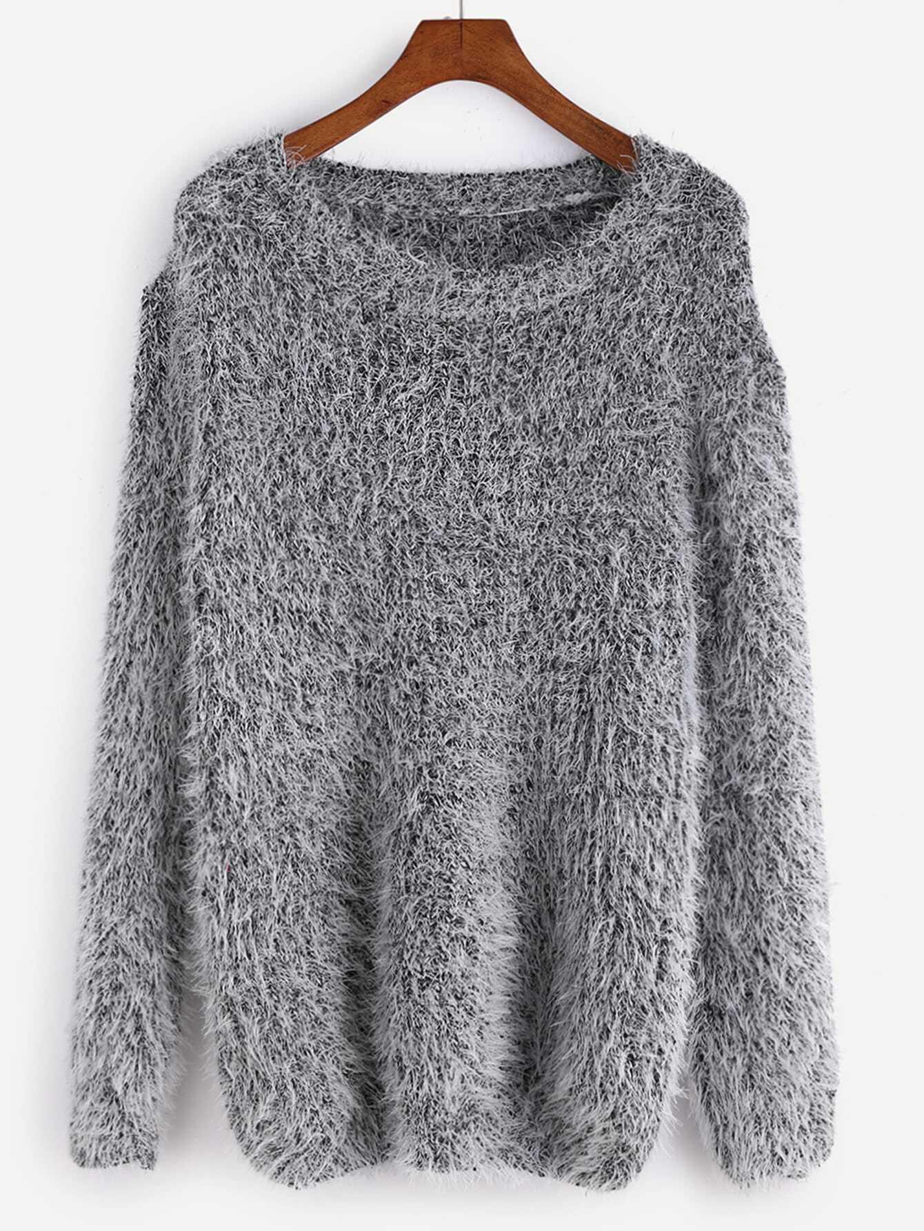 Grey Drop Shoulder Fuzzy Sweater