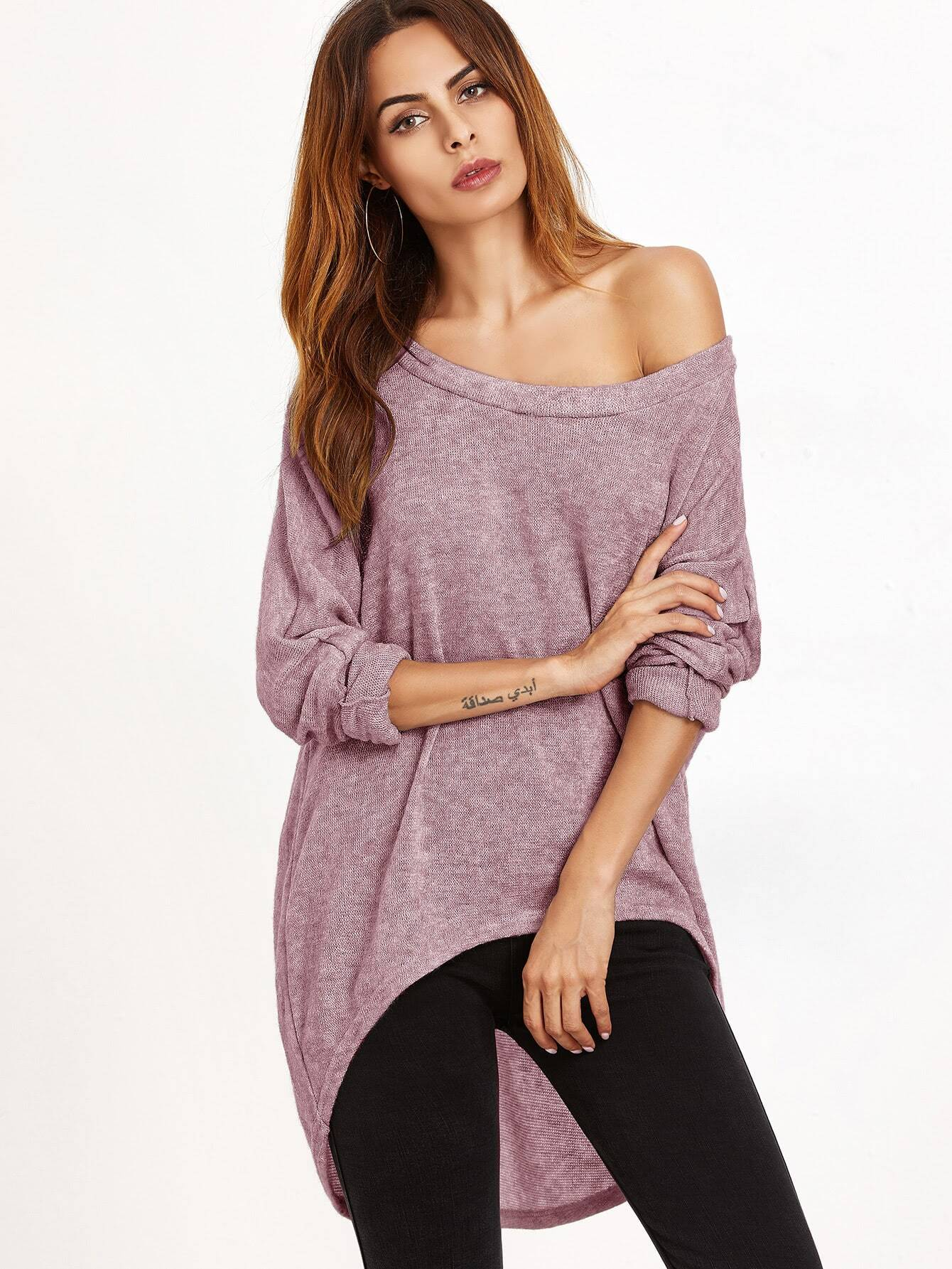 Pink One Shoulder Dip Hem T-shirt