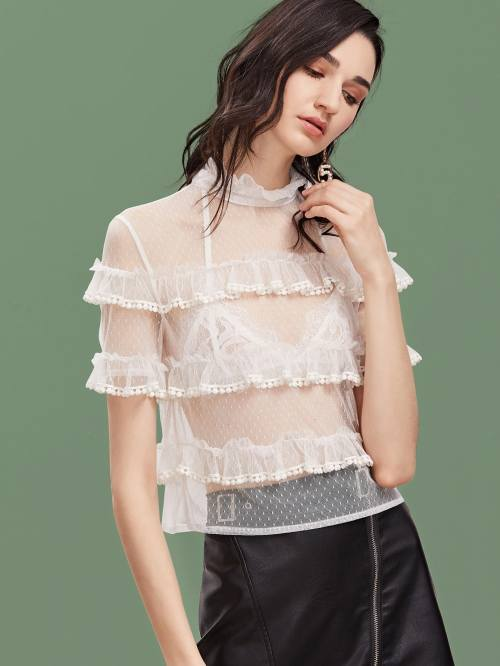 BLUSA TOP VOLANTES SHE IN TRANSPARENTE