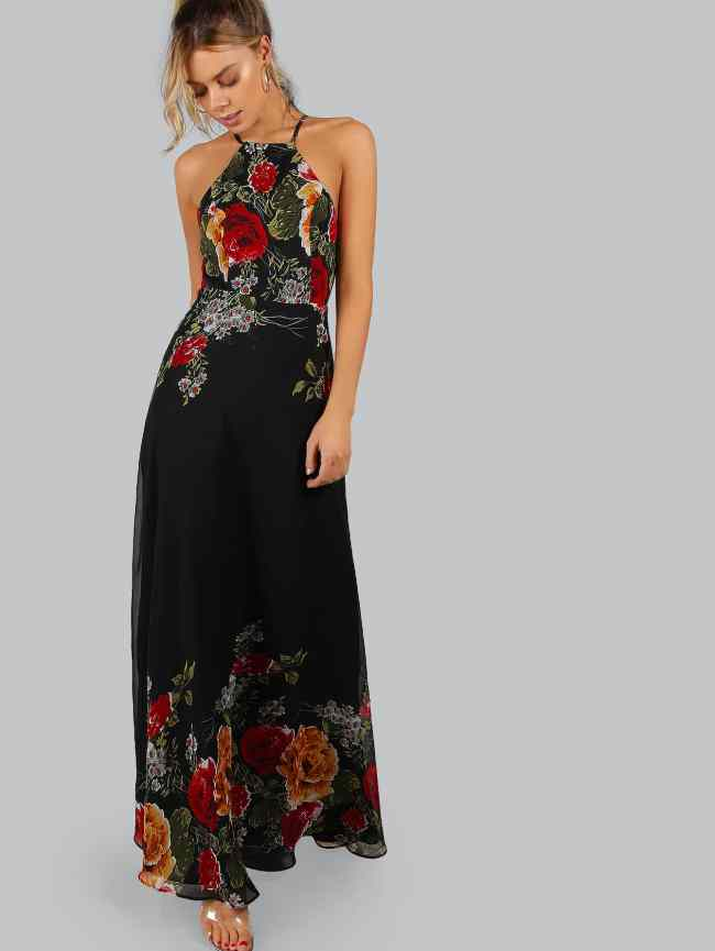 SheIn Black Flower Print Halter Neck Open Back Maxi Dress