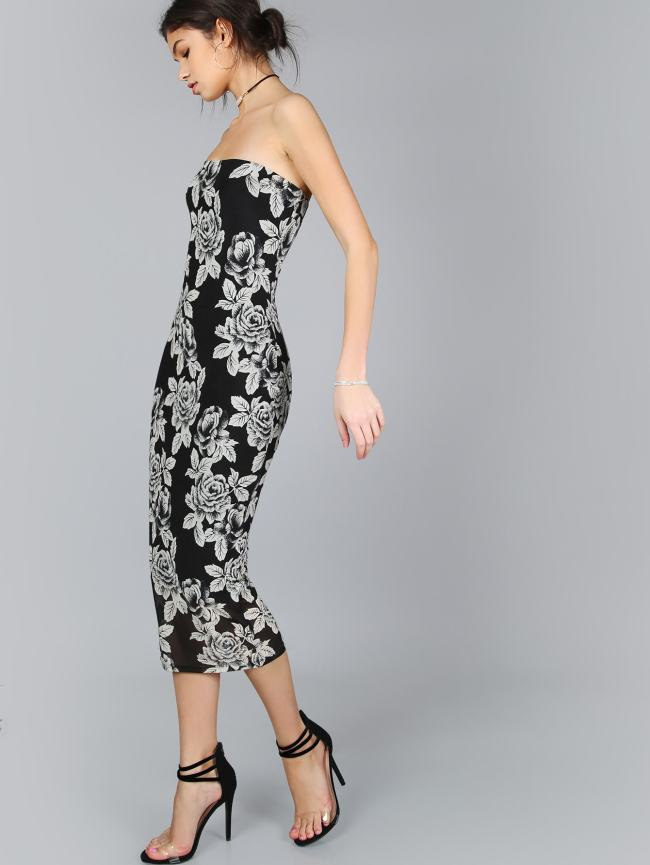 SheIn Floral Print Bandeau Dress