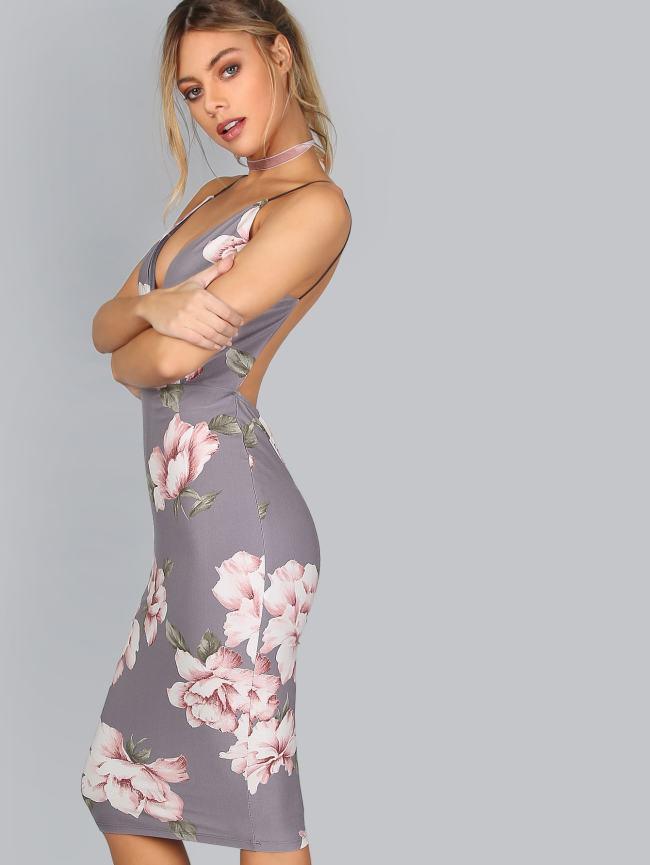 SheIn Plunge V Neckline Floral Backless Knee Length Dress