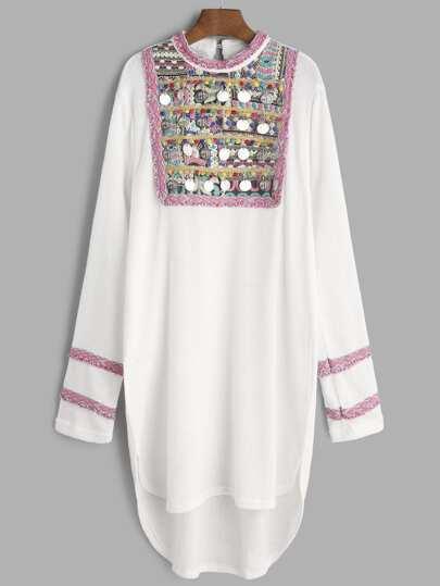 Vestido asimétrico con canesú de jacquar y flecos - blanco