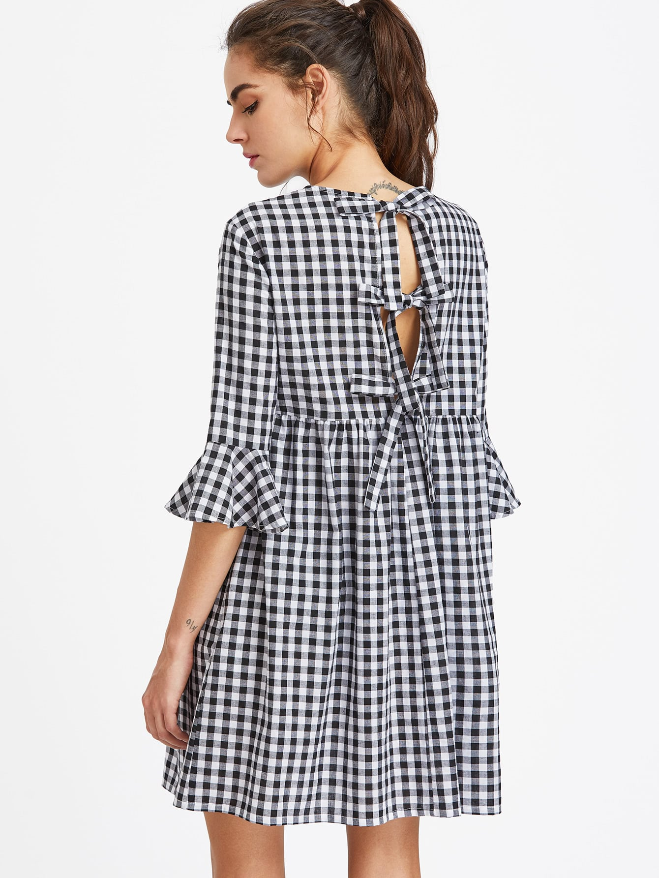e8196e36853 ... Fun Sleeves and Back $18~ http://us.shein.com/Bow-Tie-Open-Back -Fluted-Sleeve-High-Waist-Gingham-Dress-p-353139-cat-1727.html ...