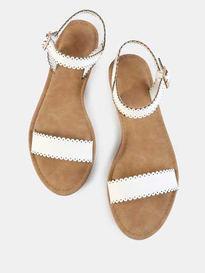 Scalloped Trim Flat Sandals WHITE Women's Shoes Straps Buckle Summer