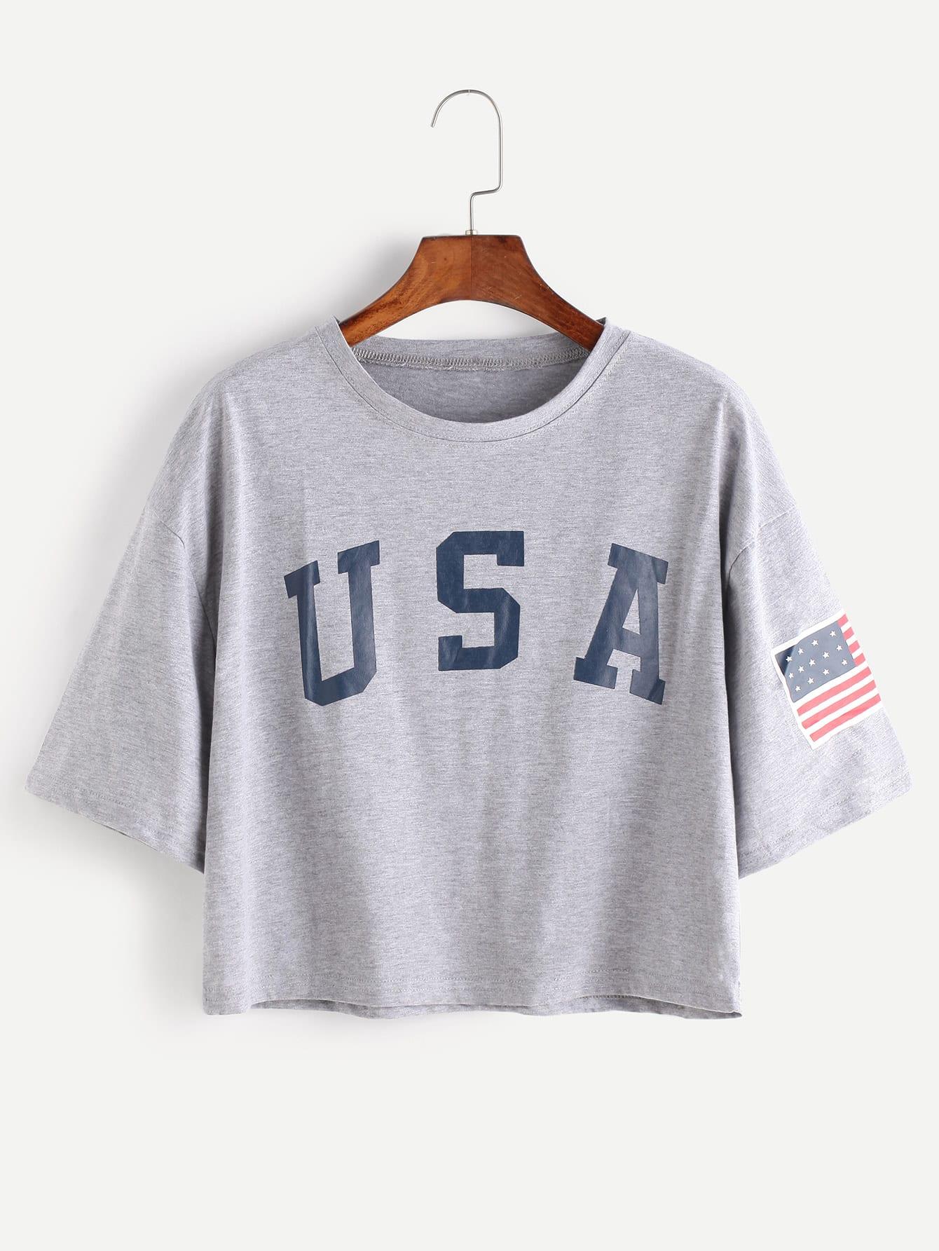American Flag Letter Print Drop Shoulder Tee SheInSheinside