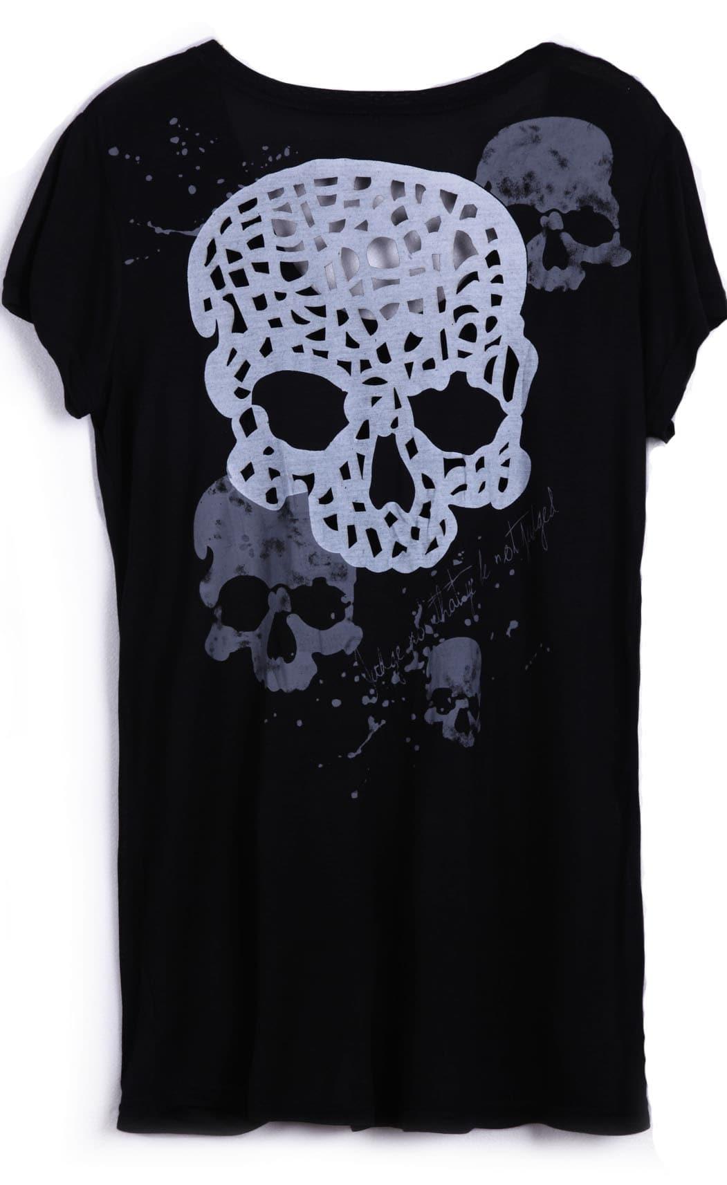 Black Short Sleeve Cut Out Skull Pattern Back T Shirt