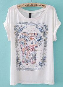 Camiseta estampada elefante-Blanco