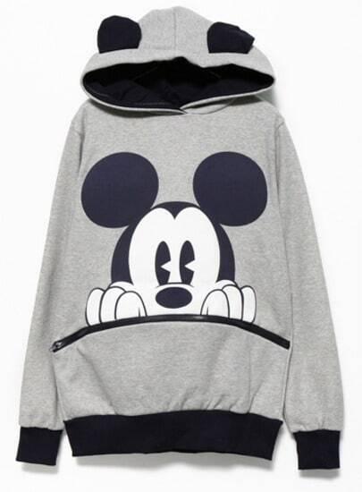 Grey Black Long Sleeve Mickey Hooded Sweatshirt pictures