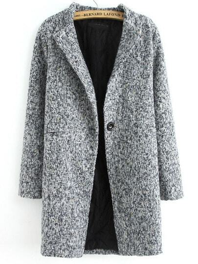 Grey Long Sleeve Single Button Tweed Coat pictures