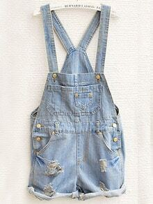 Sky Blue Overalls Pocket Jumpsuit