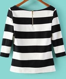 Camiseta cuello redondo rayas-blanco y negro
