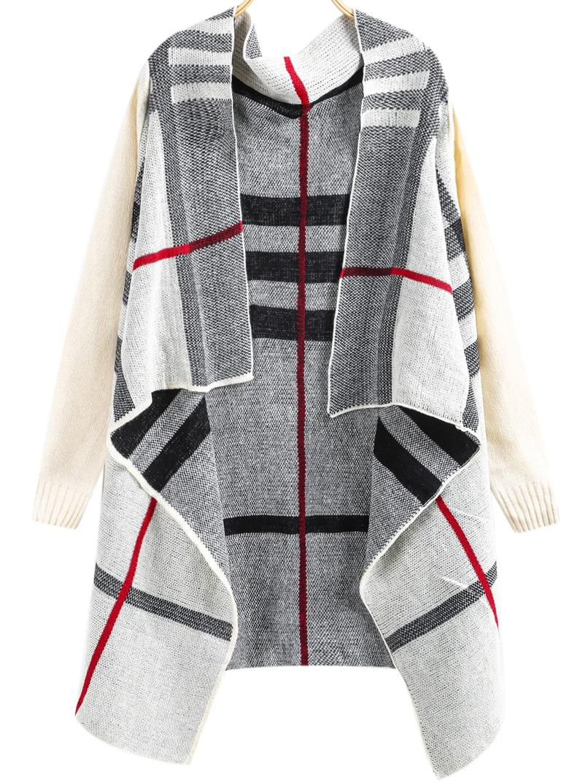 White Long Sleeve Plaid Knit Cardigan