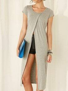 Grey Cap Sleeve Split Front T-shirt