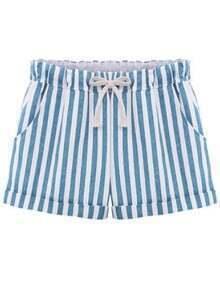Blue Drawstring Waist Vertical Stripe Shorts