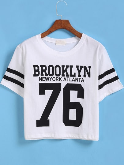 Camiseta Crop BROOKLYN 76 manga corta-blanco