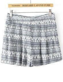 Grey Geometric Print Loose Shorts