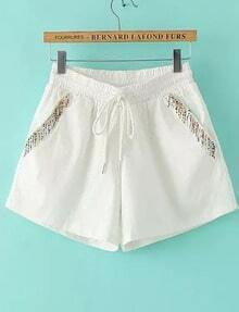 White Elastic Waist Drawstring Bead Shorts