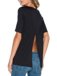Black Short Sleeve Split Back T-shirt