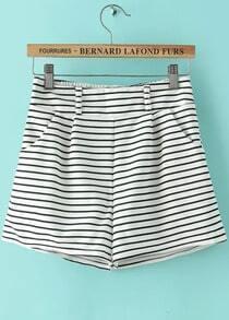 White Elastic Waist Striped Casual Shorts
