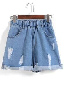 Elastic Waist Ripped Flange Blue Shorts