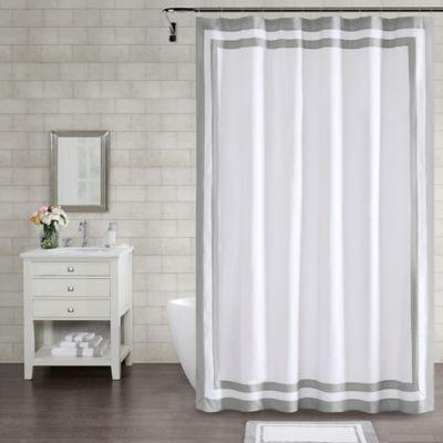 wamsutta hotel border 96 inch x 72 inch shower curtain in grey