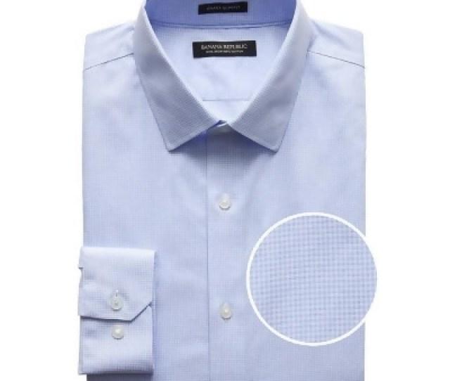Banana Republic Mens Grant Slim Fit Non Iron Gingham Dress Shirt Marfa Blue Size Xxl