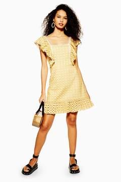 Yellow Broderie Mini Dress