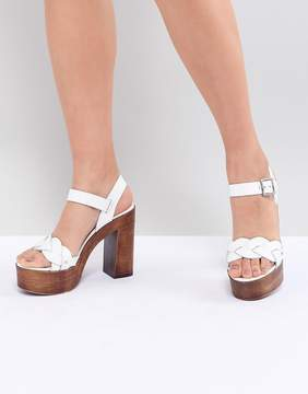 ASOS DESIGN Troop Leather Plaited Heeled Sandals
