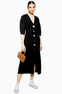Mixed Button Midi Dress