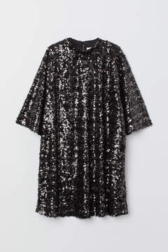 Sequined Black Dress