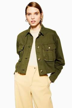 Raw hem utility jacket