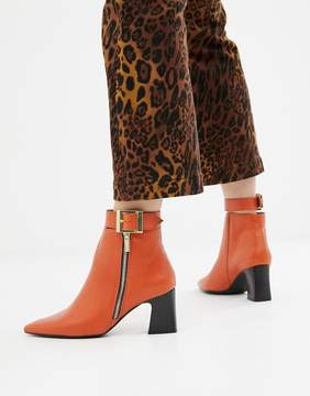 Depp Leather Side Zip Heeled Boots