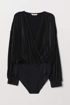 Black pleated bodysuit