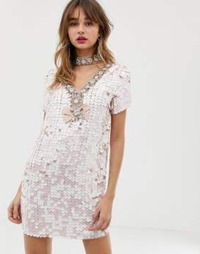 River Island sequin embellished shift dress with collar in pink