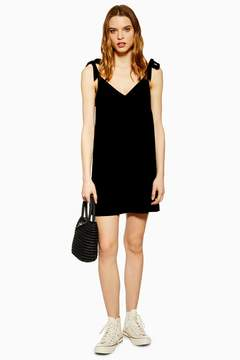 Black Button Mini Slip Dress