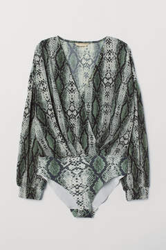 Snake Print pleated body suit