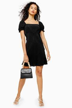 Black Jacquard Mini Square Neck Tea Dress