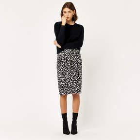 Animal Print Crepe Skirt