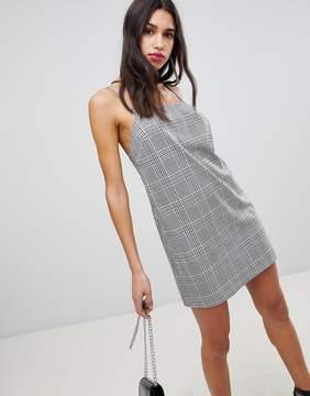 ASOS DESIGN Mini Check Square Neck Cami Dress