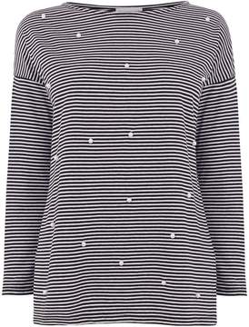 Warehouse Pearl Embellished Stripe Top
