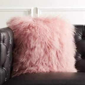 16″ Mongolian Sheepskin Pink Fur Pillow with Down-Alternative Insert