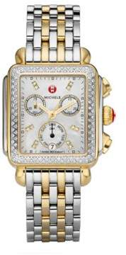 Michele Watches Deco II Diamond, Mother-Of-Pearl& Two-Tone Stainless Steel Bracelet Watch