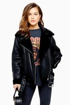 Topshop Womens Petite Leather Look Biker Jacket – Black