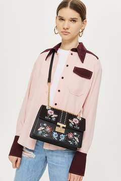 Topshop Black Darcy Floral Shoulder Bag